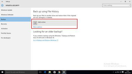 Add a drive to take backup for Format Windows 10
