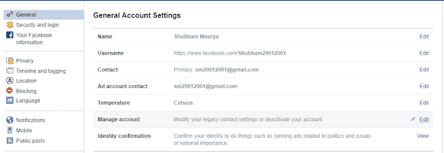 Manage your Facebook account to  Delete Or Deactivate Facebook Account