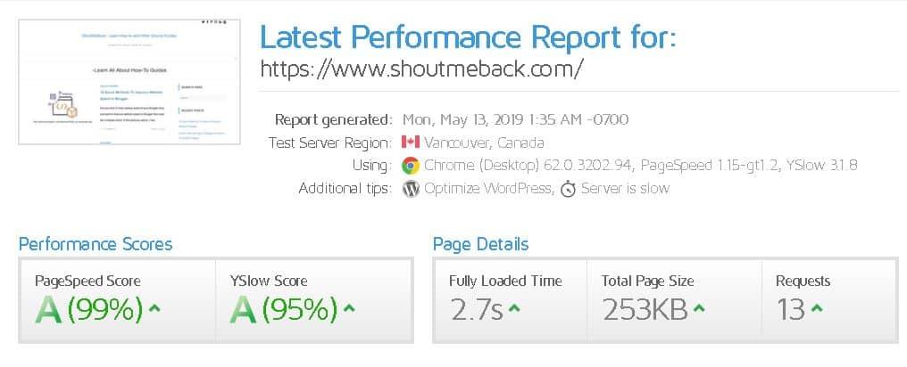 GTmetrix PageSpeed for Shoutmeback