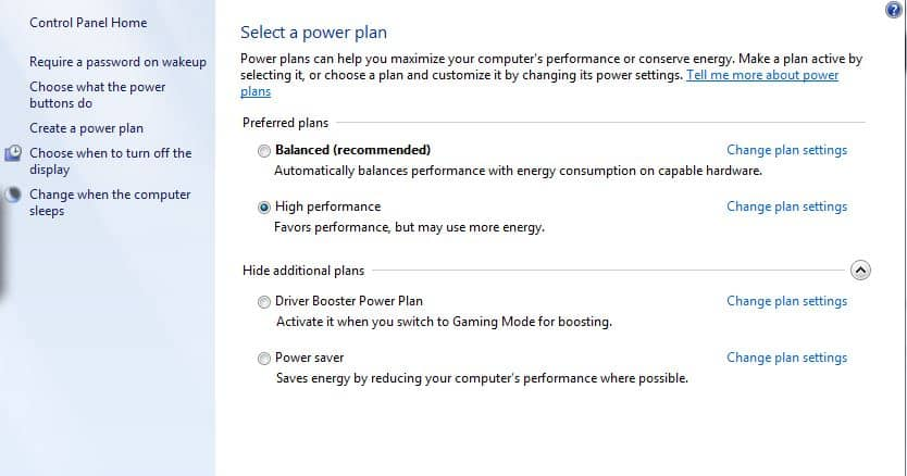 Set Power Plan to High Performance