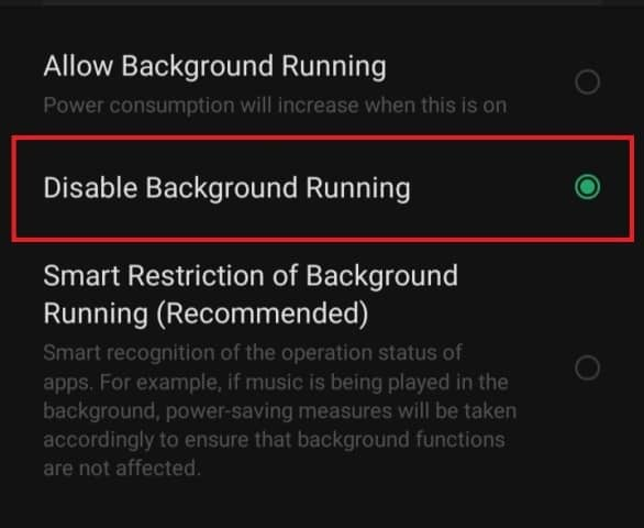 Disable Apps Running in Background