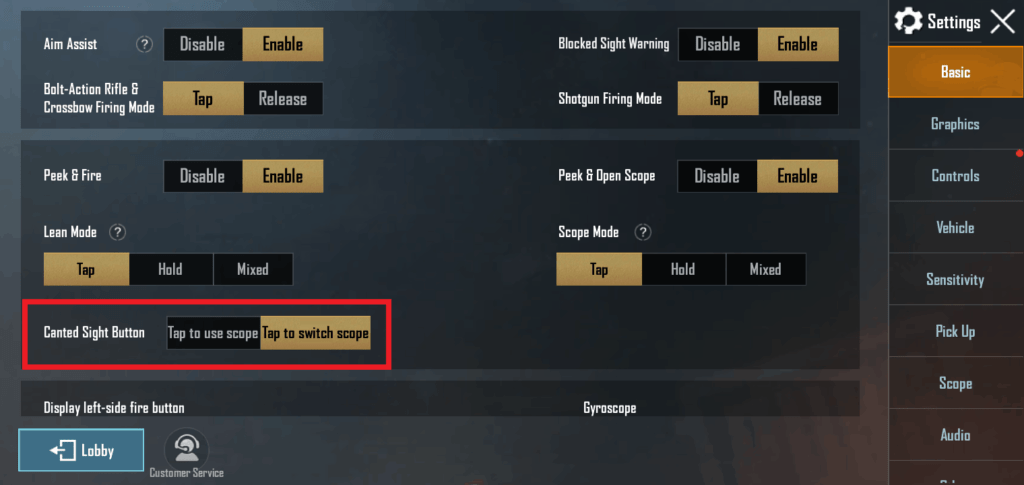 Enable Canted Sight in PUBG Mobile