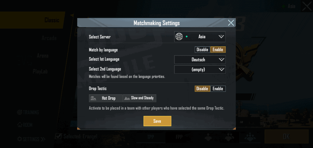 Change your Match-Making Settings