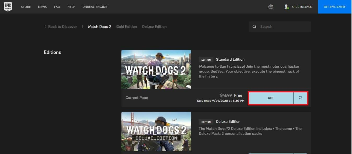 """Click on """"Get"""" Button to Buy Watch Dogs 2 free"""