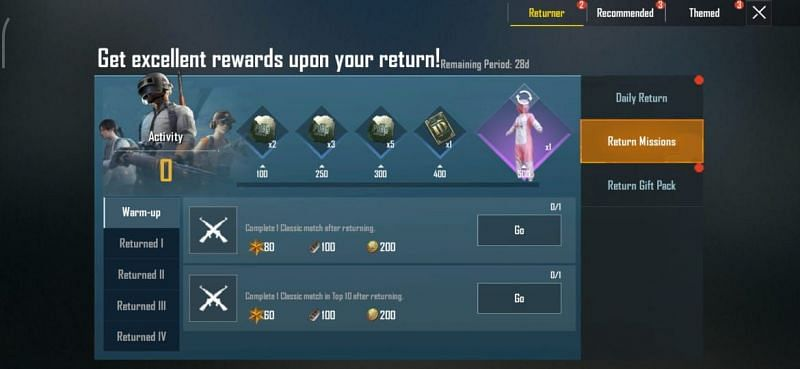 Complete return user missions to earn free rename card