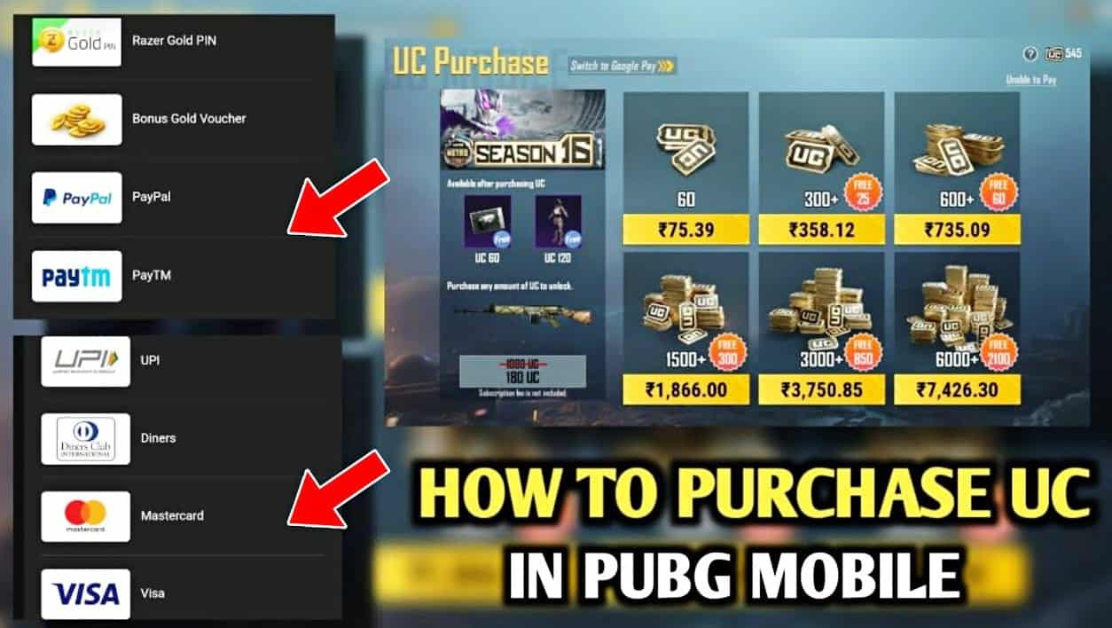 Purchase UC in Pubg Mobile after Ban in India